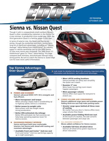 September 2009 Sienna Vs. Nissan Quest - SET University