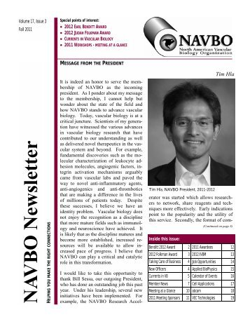 Vol 17 No 3 - Fall 2011 - North American Vascular Biology ...
