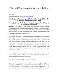 Press Release - National Foundation for American Policy