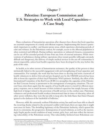 Palestine: European Commission and U.S. Strategies ... - Groupe URD