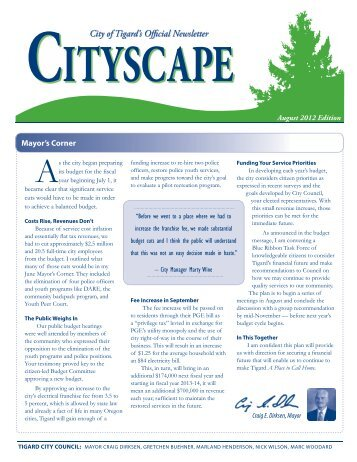 Cityscape Monthly Newsletter: August 2012 - City of Tigard