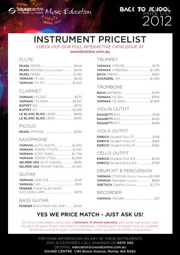 yes we price match - just ask us! - Sound Centre Music Gallery