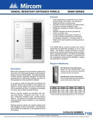 N5000 Series Vandal Resistant Entrance Panels Data Sheet - Mircom