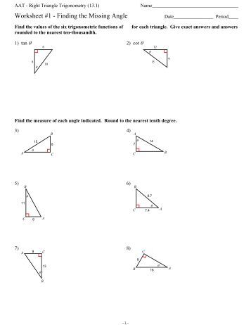 Right Triangle Trig Evaluating Ratios