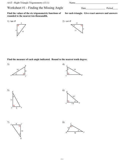 Section 13.1 - Right Triangle Trigonometry - Finding the ...