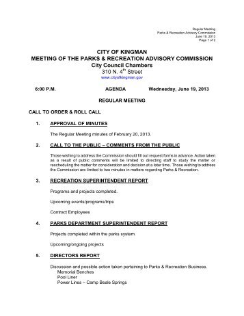 CITY OF KINGMAN MEETING OF THE PARKS & RECREATION ...