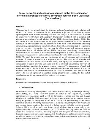 Social networks and access to resources in the development of ...