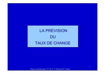 LA PREVISION DU TAUX DE CHANGE - CEREG