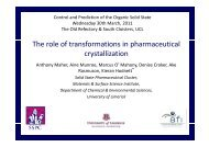The role of transformations in pharmaceutical crystallization y - UCL