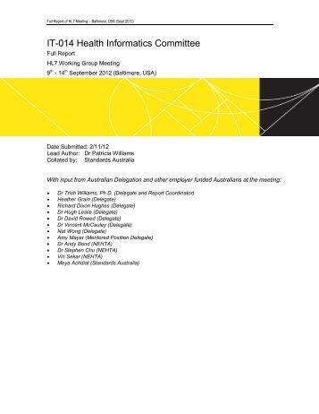 Meeting Report September 2012 - Baltimore - Standards Australia e ...