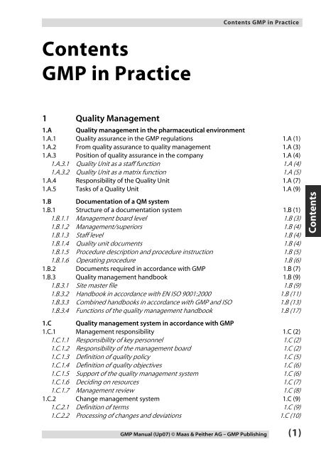 Link To Gmp Manual Table Of Contents Gmp Publishing