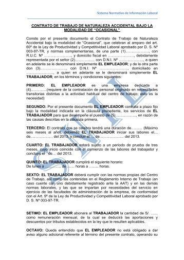 Contrato de Trabajo Sujeto a Modalidad Ocasional.