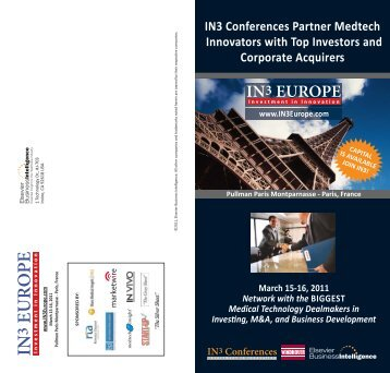 IN3 Conferences Partner Medtech Innovators with ... - Medtech Insight