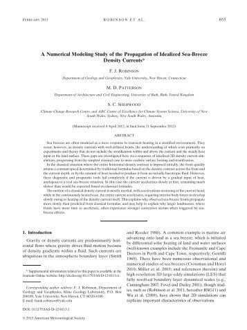 A Numerical Modeling Study of the Propagation of Idealized Sea ...