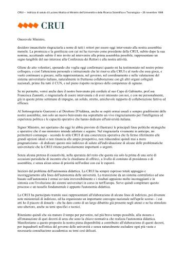 Indirizzo di saluto del Presidente Modica al Ministro dell ... - Crui