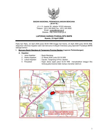 1 LAPORAN HARIAN PUSDALOPS BNPB Kamis, 23 April 2009