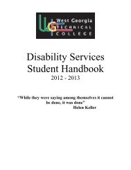 Disability Services Student Handbook - West Georgia Technical ...