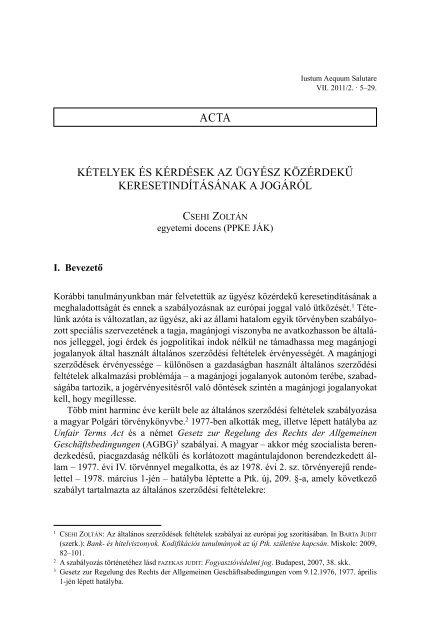 CSEHI ZOLTÁN: Kételyek és kérdések az ügyész közérdekű ... - IAS