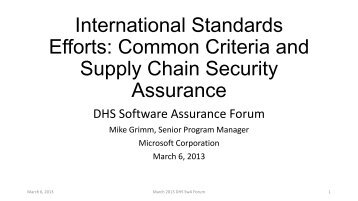 International Standards Efforts: Common Criteria ... - Build Security In
