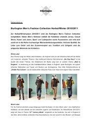Medieninformation Burlington Mens Fashion Winter 2010-11