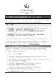OPPORTUNITIES BULLETIN # 85 – June 2010 - The Royal Film ...
