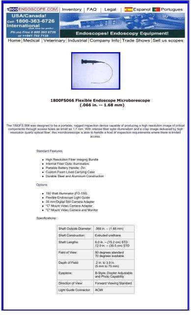 1800FS066 Flexible Endoscope Microborescope ( 066 in