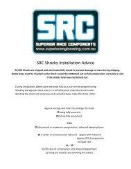 SRC Shocks Installation Advice - Superior Engineering