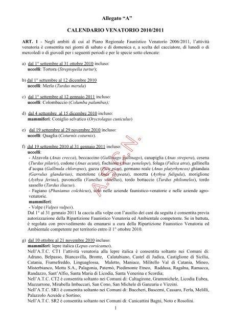 Gazzetta Ufficiale Calendario Venatorio Sicilia.Allegato Associazione Siciliana Caccia E Natura