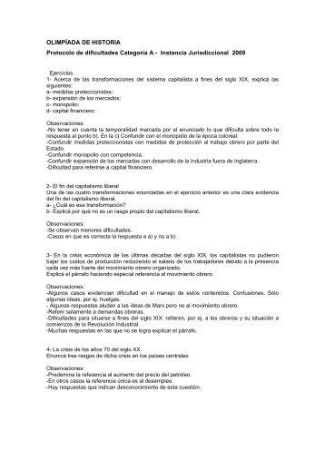 OLIMPÍADA DE HISTORIA Protocolo de dificultades Categoría A ...