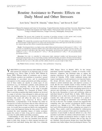 Routine Assistance to Parents: Effects on Daily Mood and ... - MIDUS