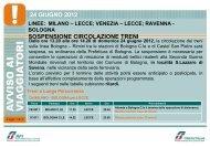 24 GIUGNO 2012 SOSPENSIONE CIRCOLAZIONE TRENI - Trenitalia