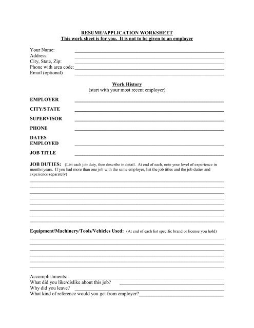 RESUME/APPLICATION WORKSHEET This work sheet is for you. It ...