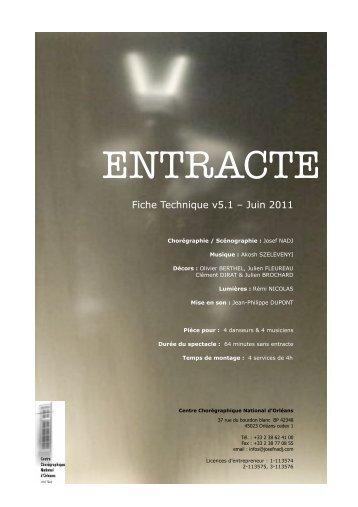Fiche technique (pdf) - Centre Chorégraphique National d'Orléans