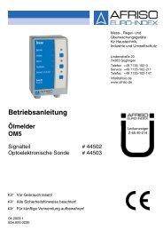 Betriebsanleitung Lecküberwachungsgerät Ölmelder OM 5 - Wekonn