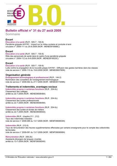 Bulletin Officiel Na 31 Du 27 Aoa T 2009 Sommaire Les Boen Depuis