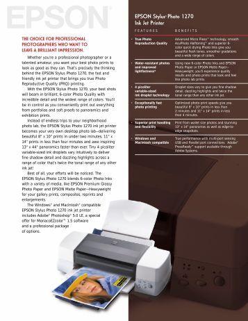 EPSON Stylus Photo 1270 Ink Jet Printer