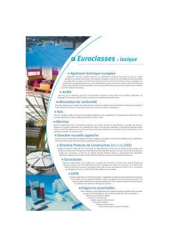 """Recto-Verso """"Euroclasses"""" lexique - union plasturgie batiment"""
