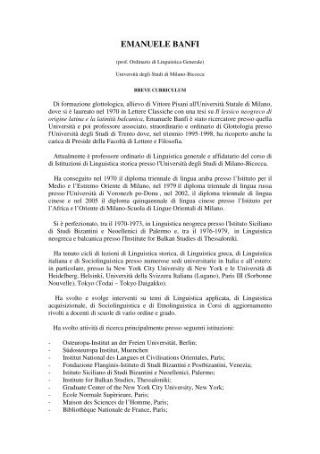 EMANUELE BANFI - Istituto Italiano di Scienze Umane
