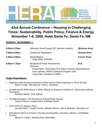 Sustainability, Public Policy, Finance & Energy November 1-4, 2009