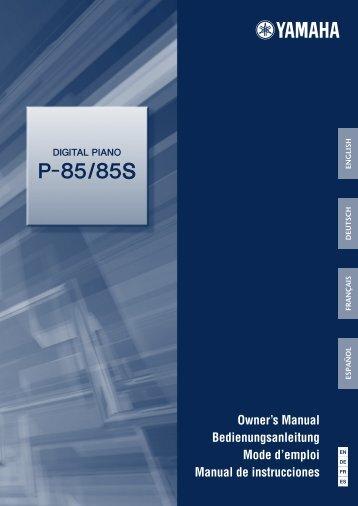 Yamaha - P-85/P-85S Owner's Manual