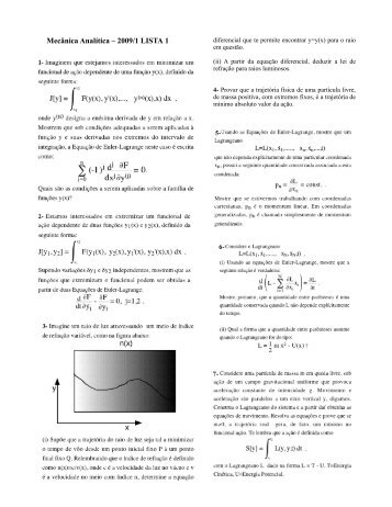 Mecânica Analítica – 2009/1 LISTA 1 - Chasqueweb.ufrgs.br