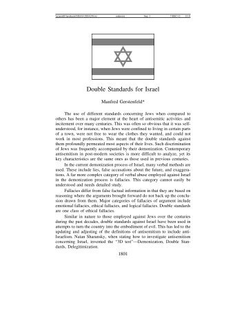 Double Standards for Israel - Journal for the Study of Antisemitism