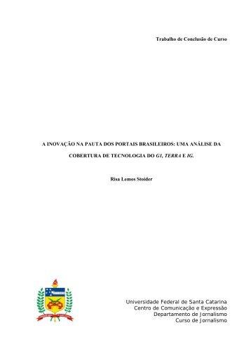 Trabalho de Conclusão de Curso A INOVAÇÃO NA PAUTA ... - UFSC