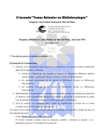 """II Jornada""""Temas Actuales en Bibliotecología"""" - Centro Médico de ..."""