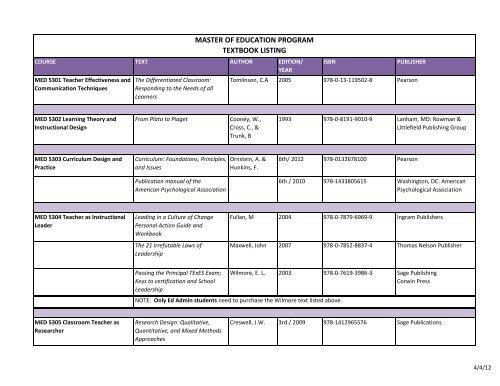 master of education program textbook listing - Concordia University