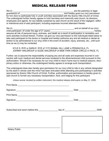 Medical Release Form   Scenic Hills Church Of Christ  Personal Information Release Form