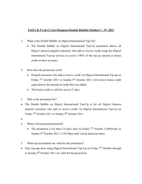 TERMS AND CONDITIONS APPLICABLE TO THE     - Digicel Jamaica