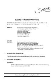DULWICH COMMUNITY COUNCIL - Meetings, agendas, and minutes
