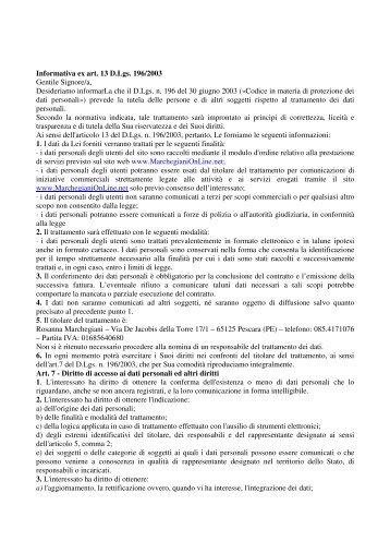 informativa sulla privacy - MarchegianiOnLine.net