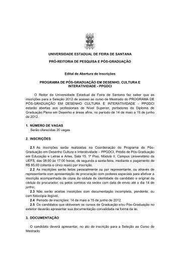 edital de abertura de inscrições - seleção 2012 - Universidade ...